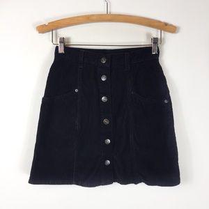 Vintage Corduroy Black Mini Skirt Button Up sz 3/4